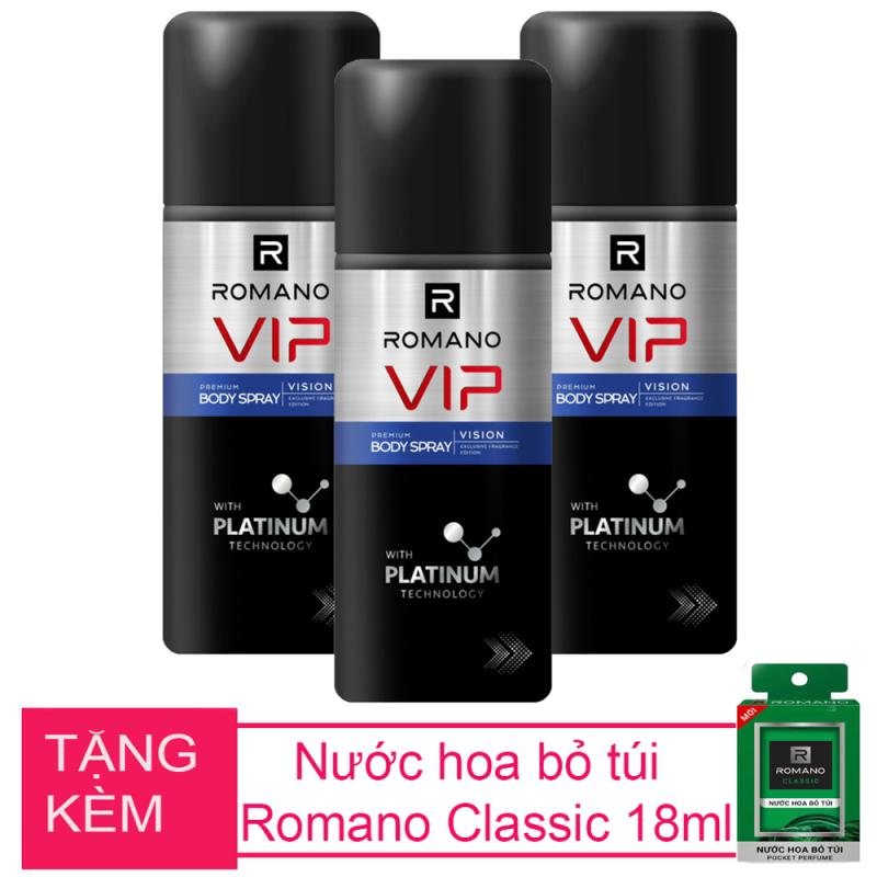 Bộ 3 chai xịt khử mùi toàn thân Romano Vip Vision 150ml+Tặng kèm nước hoa bỏ túi Romano 18ml giá rẻ