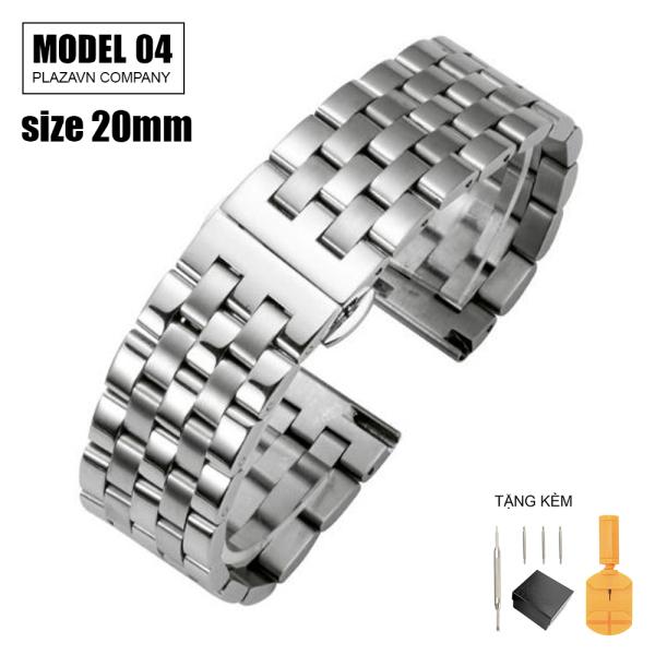 (size 20mm) Dây đồng hồ thép không gỉ inox model 04 kiểu khóa bấm chống gỉ chống bay màu bán chạy