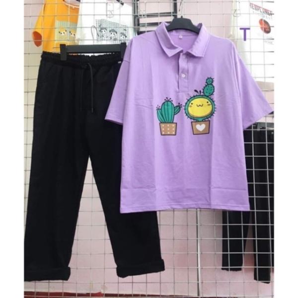 [ nam nữ đều mặc được ] Sét bộ áo polo xương rồng + quần kaki  135