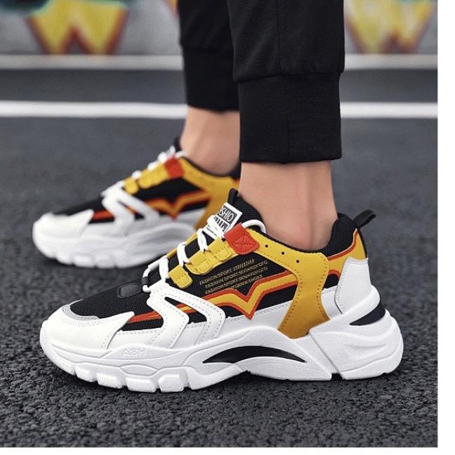 (Video Thật) Giày sneaker nam Vàng Ulzzang thể thao Phối màu cực nổi bật - Sudoo, thoáng khí êm chân giá rẻ