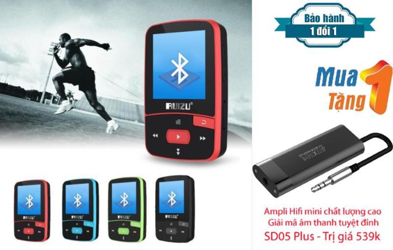Máy nghe nhạc MP3/MP4 thể thao bluetooth  Ruizu X50 - Mini Sport Mp3 + Ampli Mini hỗ trợ giải mã âm thanh chất lượng cao SD05 Plus