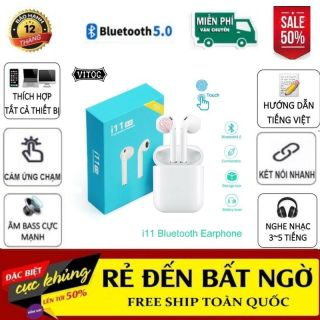 (Xả Kho Giá Sốc) Tai Nghe Bluetooth I11 nút cảm biến , âm thanh 5.0 đỉnh cao -Tai nghe Blutooth - Tai Nghe I11 Bản Nâng Cấp Của I10 - Tai Nghe Pin Trâu thumbnail