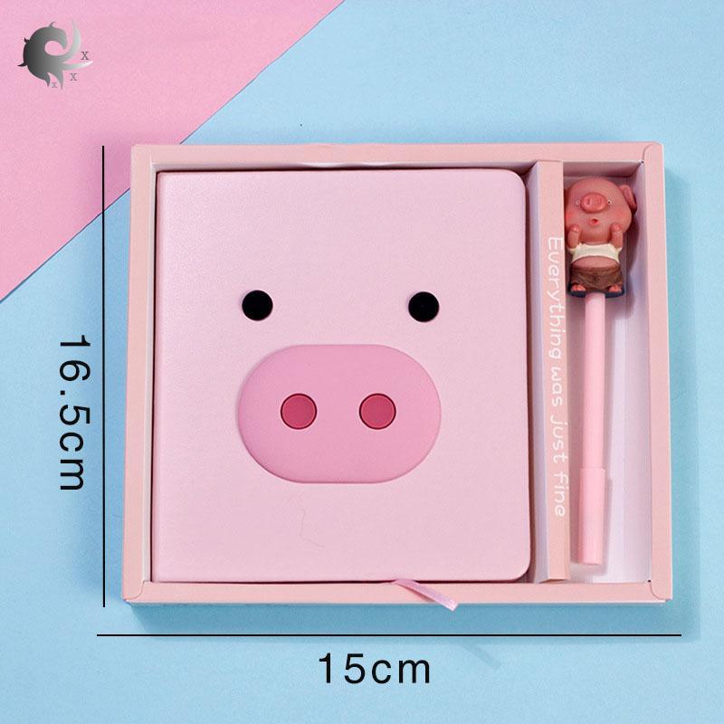 Bộ sổ tay và bút màu hồng in hình hoạt hình dễ thương chất liệu giấy cao cấp có kèm hộp đựng thích hợp để làm quà tặng (kích thước 16.5*15cm) - INTL