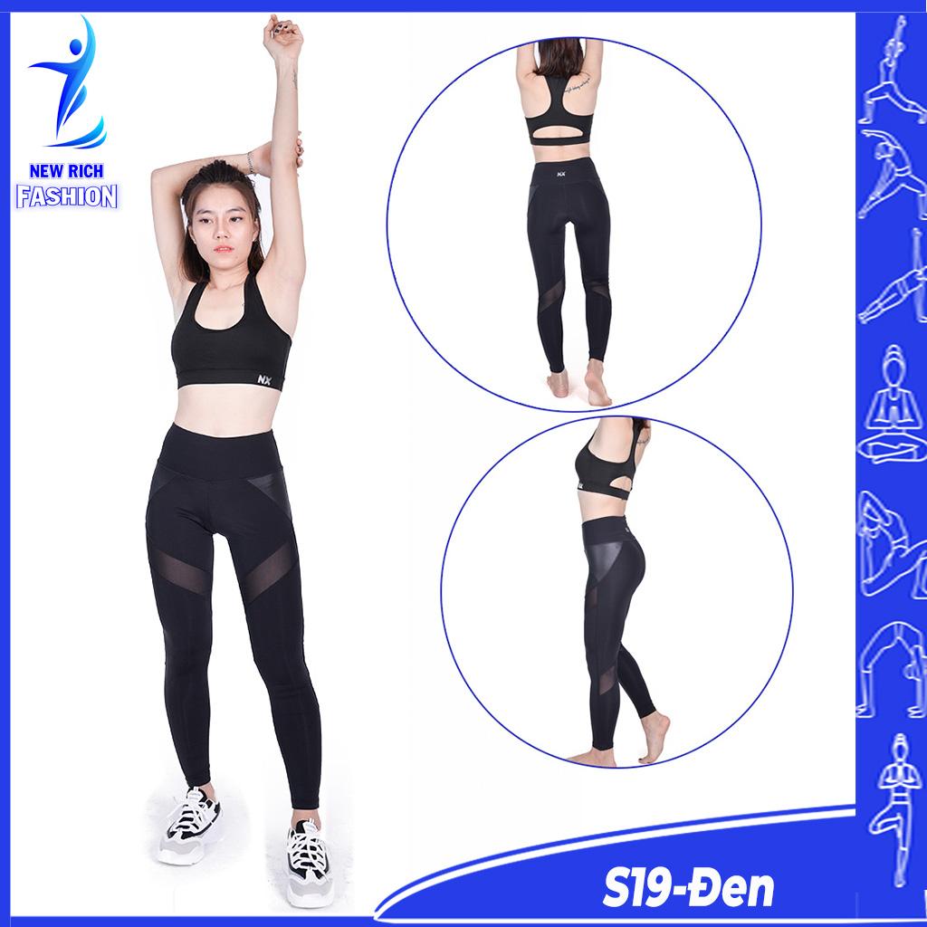 Đồ tập gym nữ thiết kế lưới phối da, chất vải mềm mịn, co giãn 4 chiều, thấm hút mồ hôi tốt