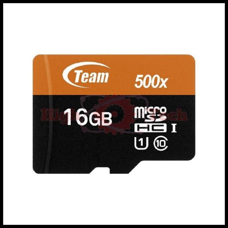 Thẻ nhớ 16GB microSDHC Team 80MB-s 500x C10 U1 Adapter (Đen cam) tặng Cáp micro USB tròn Romoss