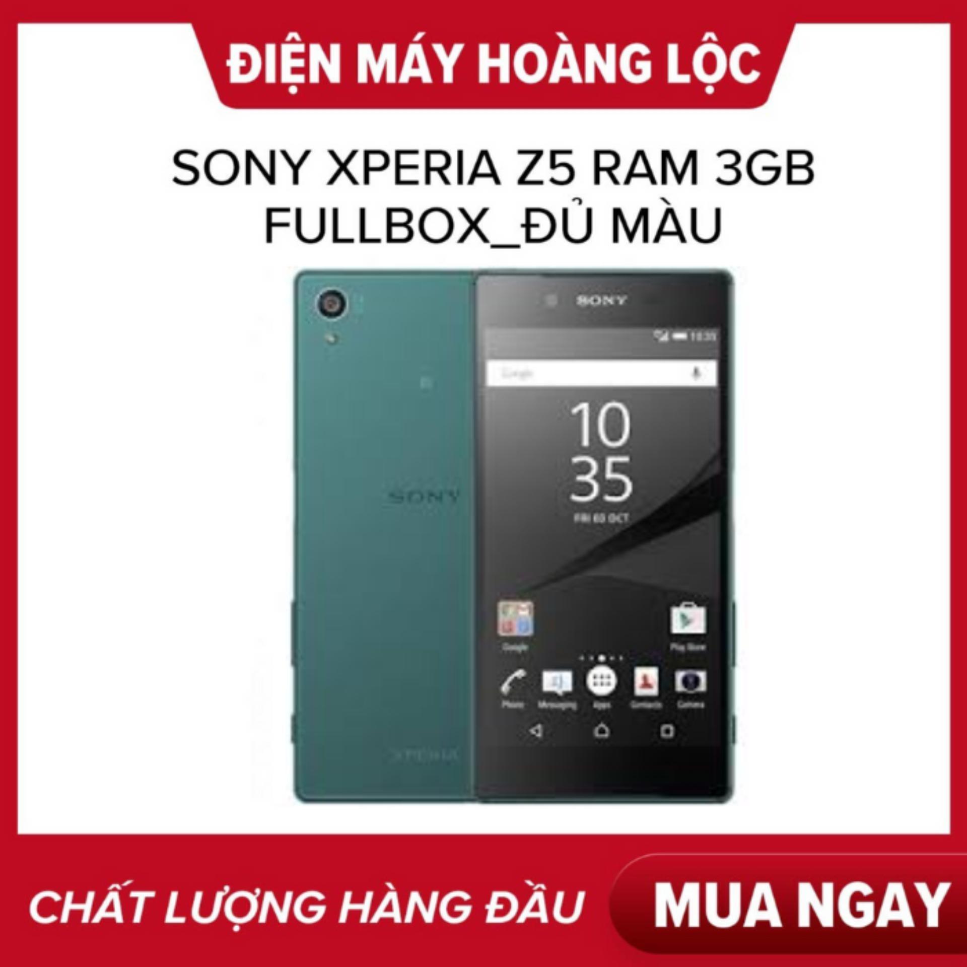 Ưu Đãi Khuyến Mại Khi Mua GIÁ SỐC  Sony Xperia Z5 Ram 3Gb Mới Fullbox Bảo Hành 1 Năm  Màn Hình IPS LCD, 5.2 , Full HD Android 6.0 (Marshmallow) Dung Lượng Pin 2900 MAh,
