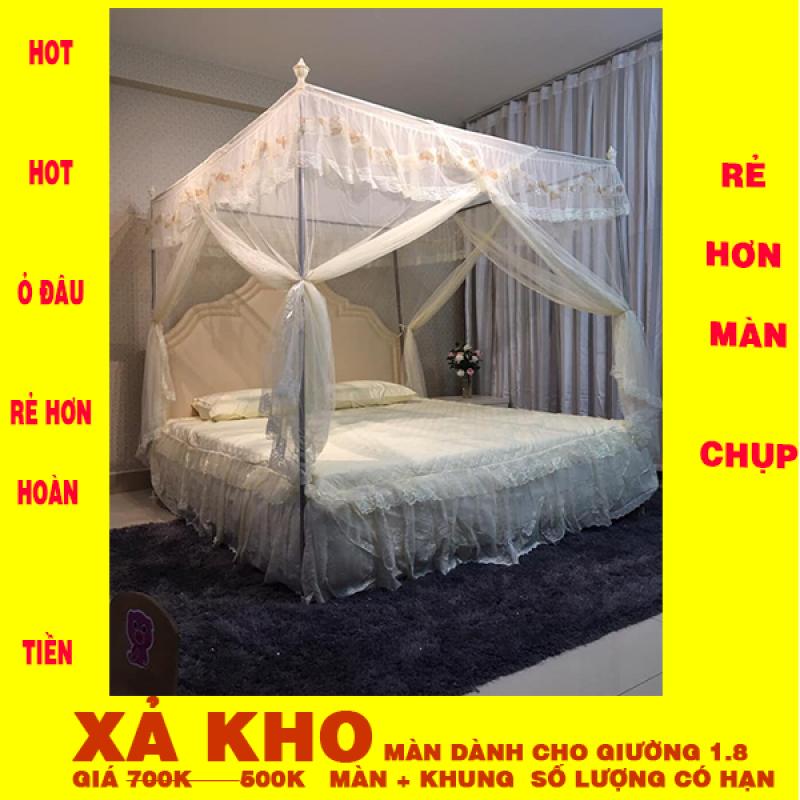 Màn khung  ( mùng ) không khoan tường cao cấp giá rẻ màu vàng chống muỗi ( kích thước 1.8*2M) khung inox - vải tuyn mắt nhỏ  (màn + khung )