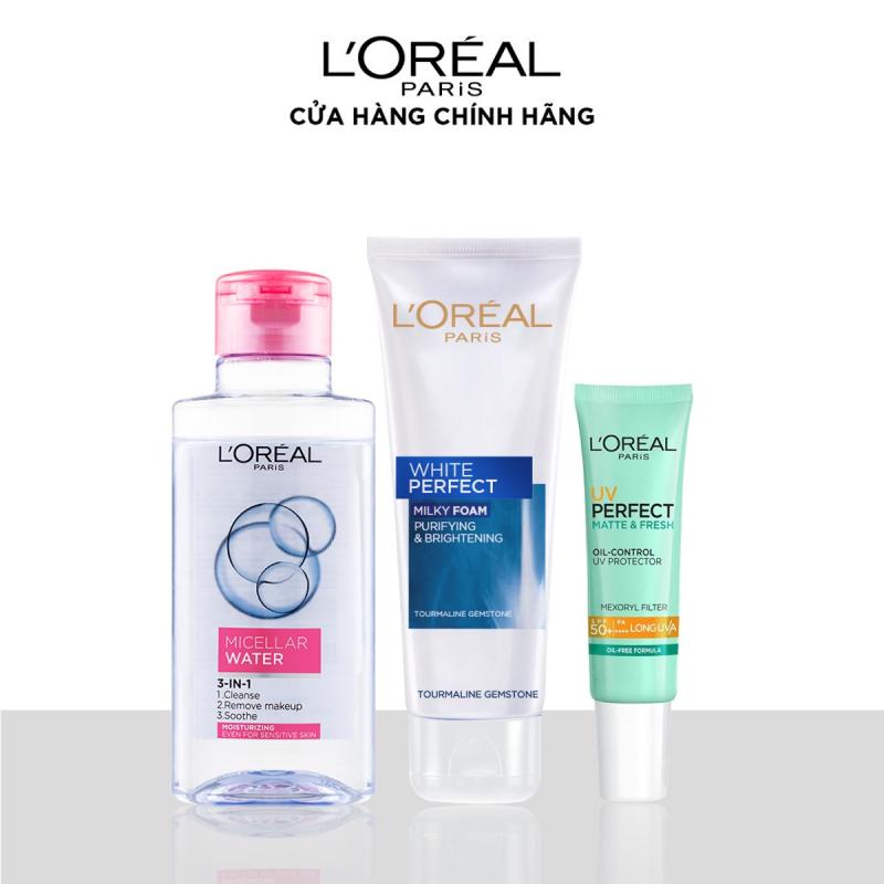 Bộ dùng thử cơ bản LOreal Paris gồm: Micellar Water 95ml Sữa rửa mặt White Perfect 50ml Kem chống nắng bảo vệ kiềm dầu 15ml - Giới hạn 5 sản phẩm/khách hàng giá rẻ
