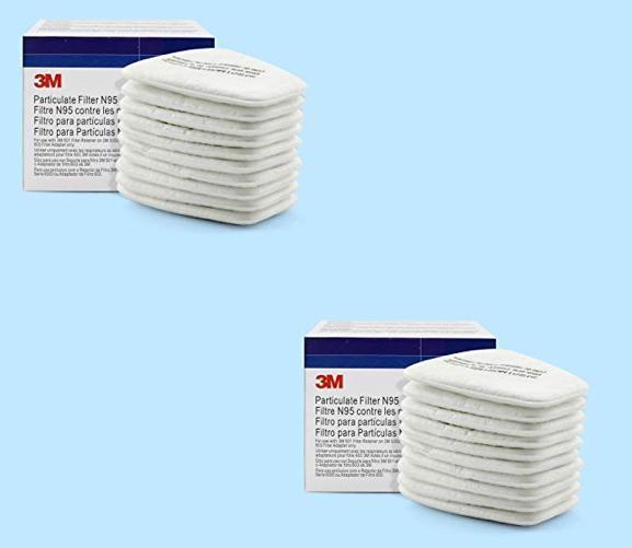 Combo 2 hộp tấm lọc mỗi hộp 10 tấm lọc bụi Cotton 5N11 N95 ( tổng 20 tấm ) dùng cho mặt nạ 3M 6200, 3M 6100, 3M 7502, 3M 7501, 3M 6800 ( Trắng)