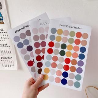 Sticker tròn dán trang trí thủ công phong cách nhiều màu sắc kích thước 16 25cm 48 sticker tròn thumbnail