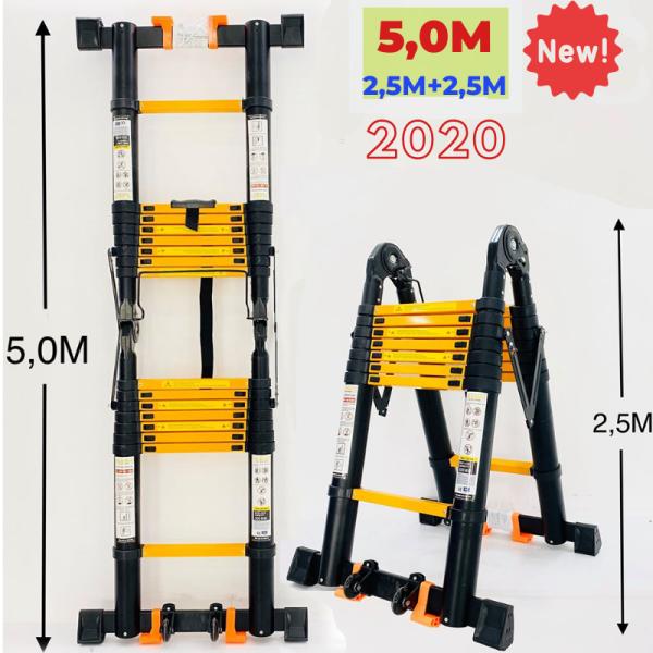 Thang nhôm rút đôi (Chữ A: 2,5m Chữ I: 5m) Sumika SK500D NEW - Nút cao su chống trượt, khóa chống rung lắc, 2x8 bậc, tải trọng 300kg, bảo hành 2 năm
