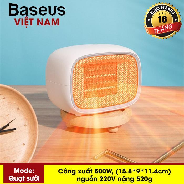 Máy sưởi ấm mini xách tay hoặc để bàn đa năng công suất 500W dùng cho gia đình hoặc văn phòng nhỏ thương hiệu Baseus Warm Fan