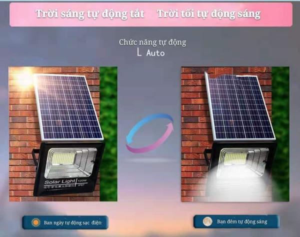 Bộ đèn Led pha năng lượng mặt trời (30W-60W-100W -200W )siêu sáng- Có chế độ bật tắt tự động, điều khiển từ xa, chống nước IP67