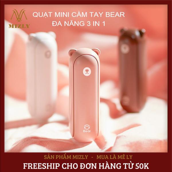 Quạt mini cầm tay cute 3 trong 1 hình gấu bear F8, quạt tích điện cầm tay Jisulife kiêm đèn pin và sạc dự phòng tiện lợi, dung lượng 2000mAh, 2 cấp độ gió mạnh, tặng kèm dây đeo