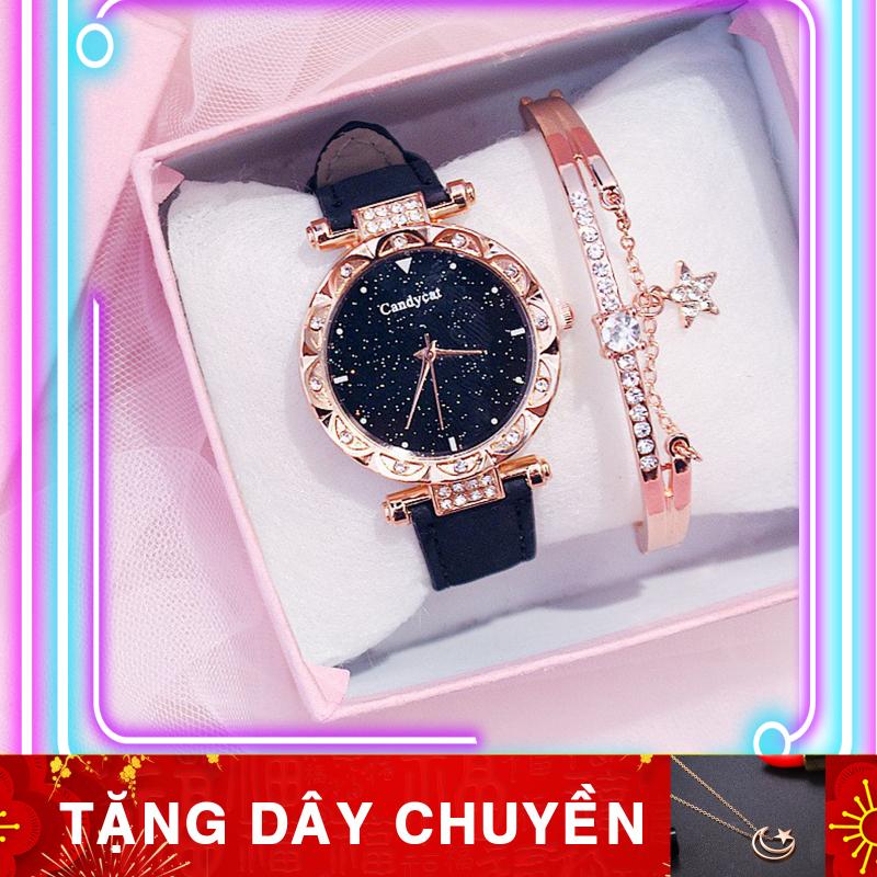 Nơi bán Đồng hồ thời trang nữ Candycat đính cườm D101 (Tặng dây chuyền)