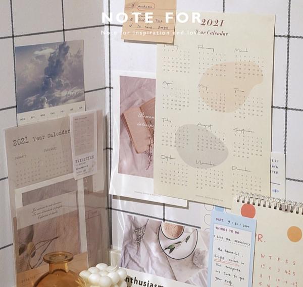 Lịch Treo Tường 2021 - Túi planner 2021 Notefor 365day lên kế hoạch vision board set decor trang trí phòng | BSQ033