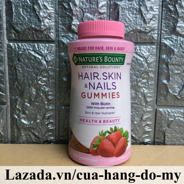 Kẹo Dẻo Đẹp Da Chống Rụng Tóc Hair Skin & Nails Gummies 230 viên -  Biotin Natures Bounty Hair Skin Nails giúp tóc da móng khỏe