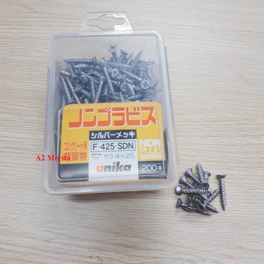 Vít bê tông 4mm đầu bằng Unika F425 (không cần tắc kê nhựa)