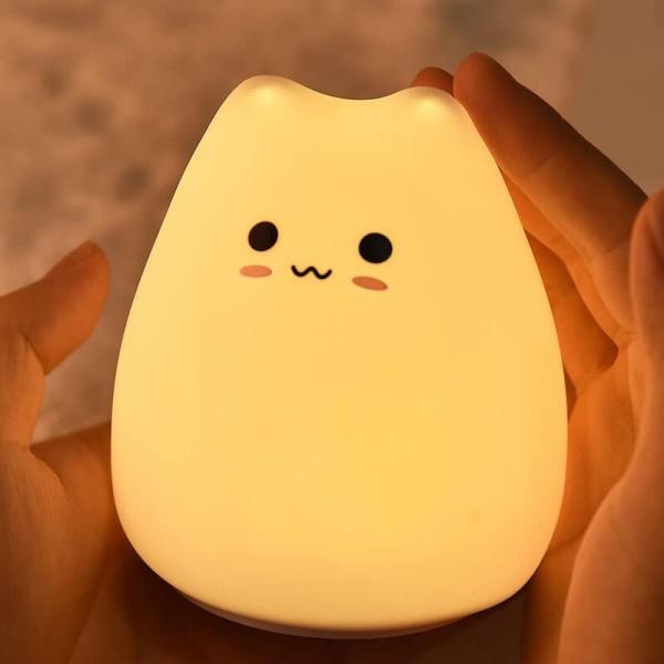 Đèn Ngủ Cảm Ứng Silicon Hình Mèo Con Siêu Dễ Thương