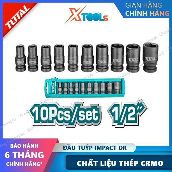 Bộ 10 đầu tuýp Impact DR TOTAL THISTD12101 1/2 dài 38mm kích thước đa dạng 10-24mm, Bộ đầu tiếp chất liệu thép CrMo, chịu nhiệt, thiết kế nhỏ gọn [XTOOLs] [XSAFE]