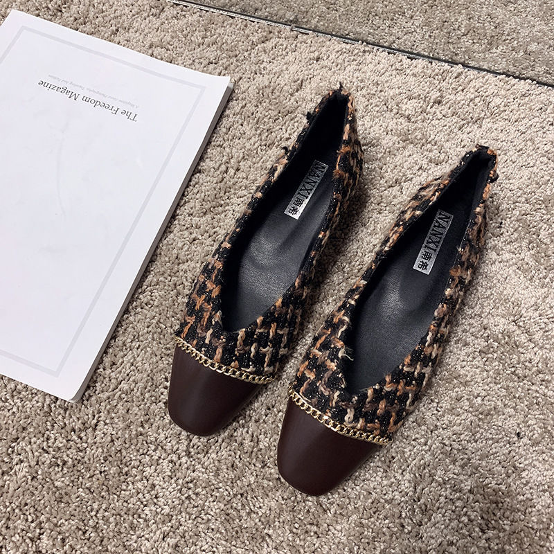 Tiểu Tây Nam giày gót dày, gót chân ở trung tâm 2020 năm mới mùa xuân giày mới có bốn mùa mới Giày cơ cao su mềm dẻo hàm tiên gót chân Đậu đôi giày Q3AJ