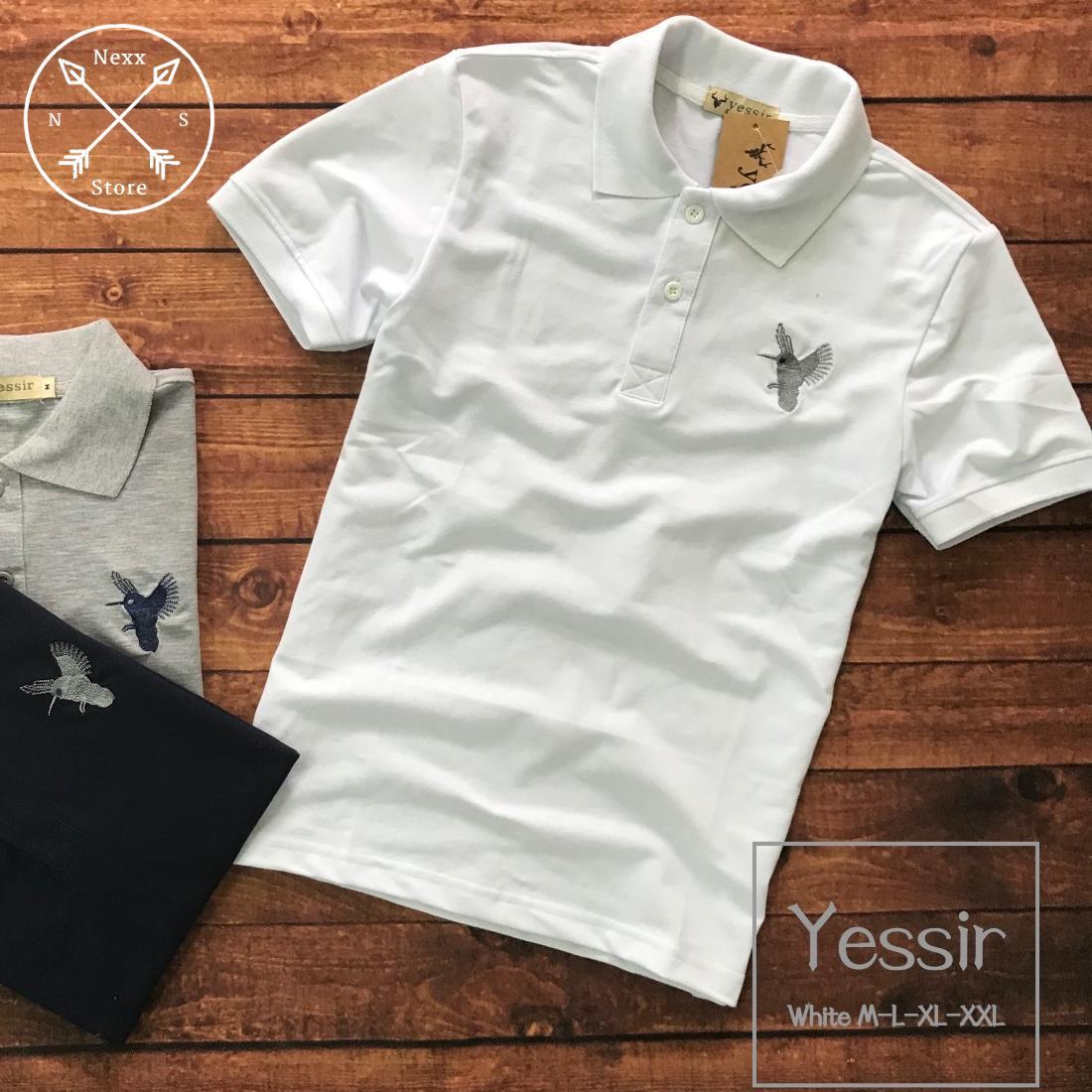 Áo thun polo nam in hình chim vải cotton cao cấp , áo thun cá sấu cổ bẻ nam