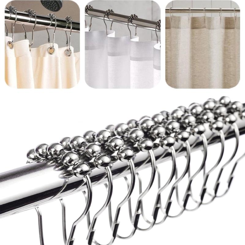 Combo 10 móc treo rèm bi trượt bằng thép không gỉ - Kẹp treo rèm kim loại (kích thước 7x4cm)