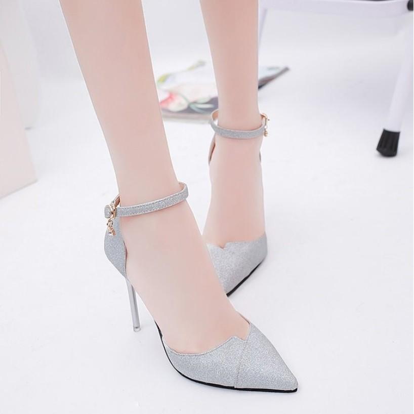 Giày cao gót bít mũi kim tuyến xéo mũi CG-0329 giá rẻ