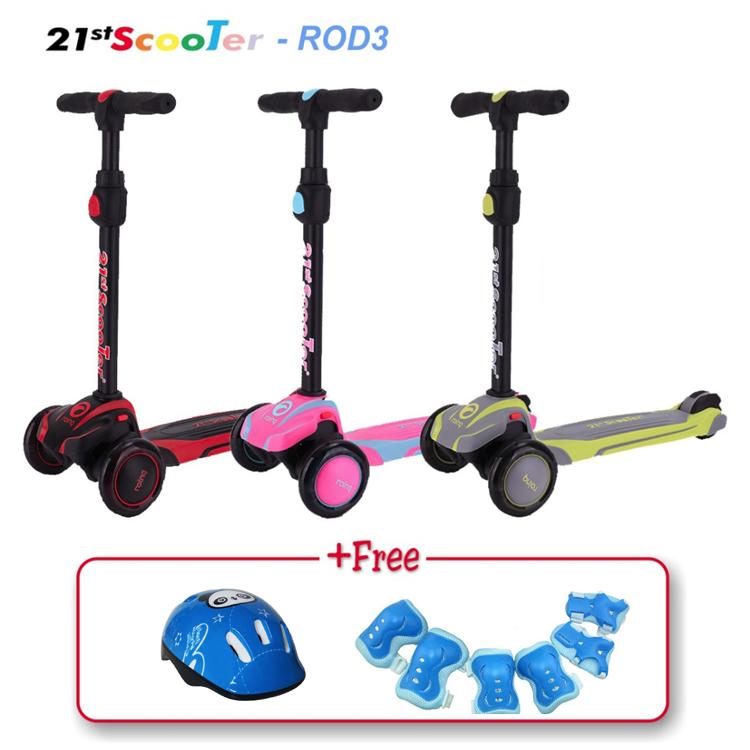 Mua ShopHanrui - Xe trượt scooter 21st có giảm xóc, 3 bánh phát sáng cho bé (Tặng bảo hộ 7 món)