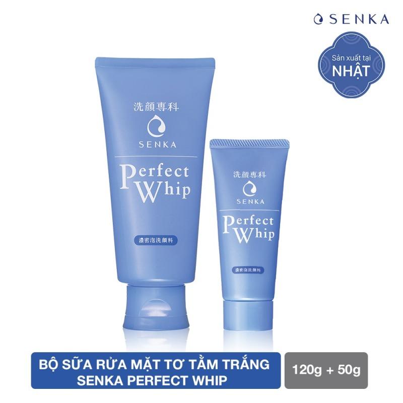 Bộ sản phẩm sữa rửa mặt tơ tằm trắng Senka Perfect Whip 120g và Senka Perfect Whip 50g giá rẻ
