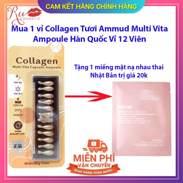 [Chính hãng] Viên Collagen Tươi, Viên Colagen bôi da Hàn Quốc Vỉ 12 Viên - Tặng 1 mặt nạ nhau thai trị giá 20k nhập khẩu