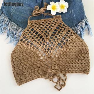 Jettingbuy Phụ Nữ Crochet Ren Handmade Đan Áo Ngực Bãi Biển Bikini Halter Cami Tank Crop Tops thumbnail