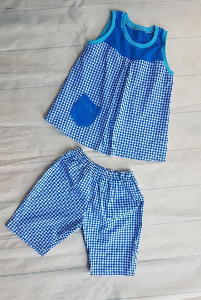 Giá bán bộ lửng bé gái 10-45kg(thô caro xanh)