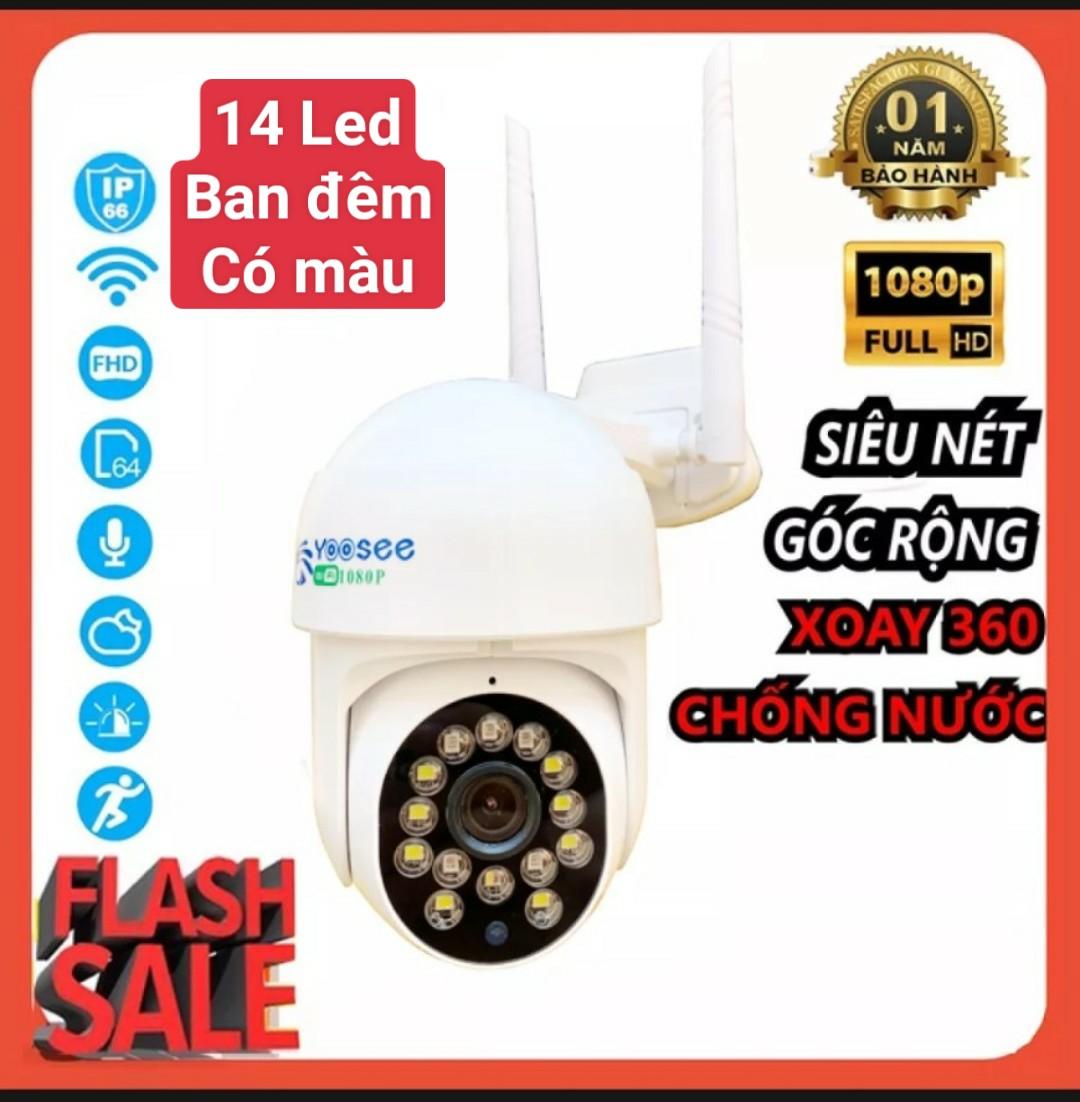 Camera wifi PTZ  mini Yoosee Ngoài trời 2.0Mp Xoay 360đ chống nước - Full HD 1080p - BAN ĐÊM CÓ MÀU - Kèm thẻ nhớ 32G/64G [Tùy chọn]