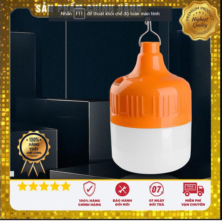 [HCM]Bóng đèn Led sạc tích điện 100w có móc treo không cần dây điện - Đèn sạc không dây - Bóng đèn tích điện 6-8h với 3 chế độ Bóng đèn tích điện 6-8h với 3 chế độ 100w bóng đèn tiết kiệm điện