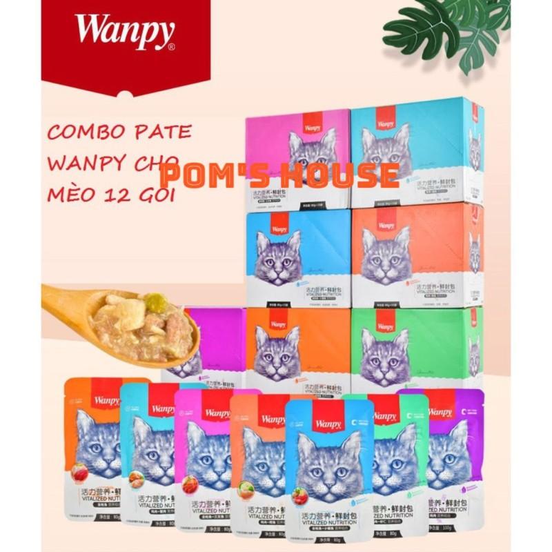COMBO Pate cho mèo Wanpy 80gr 12 gói- Thức ăn dinh dưỡng chó mèo- Poms House