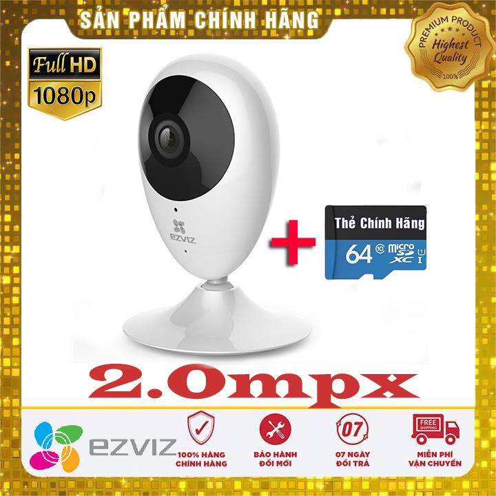 (KÈM THẺ CHUYÊN DỤNG TỚI 64GB)Camera ip WiFi không dây EZVIZ CS-CV206 ( C2C ), FULL HD 1920 X 1080P,GÓC RỘNG TỚI 130° ,XEM ĐÊM,CẢNH BÁO,GHI HÌNH LIÊN TỤC, CÓ GHI ĐÈ