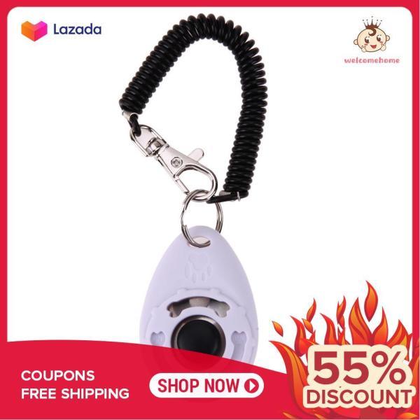 1pc Pet Trainer Pet Dog Training Adjustable Sound Key Chain Dog Clicker(White) - intl