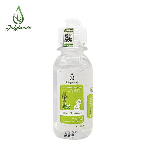 [Mùi tự chọn] Gel rửa tay khô tinh dầu thiên nhiên và Nha Đam chai 100ml JULYHOUSE giúp cho da tay mềm mại khử mùi hôi thư giản tinh thần