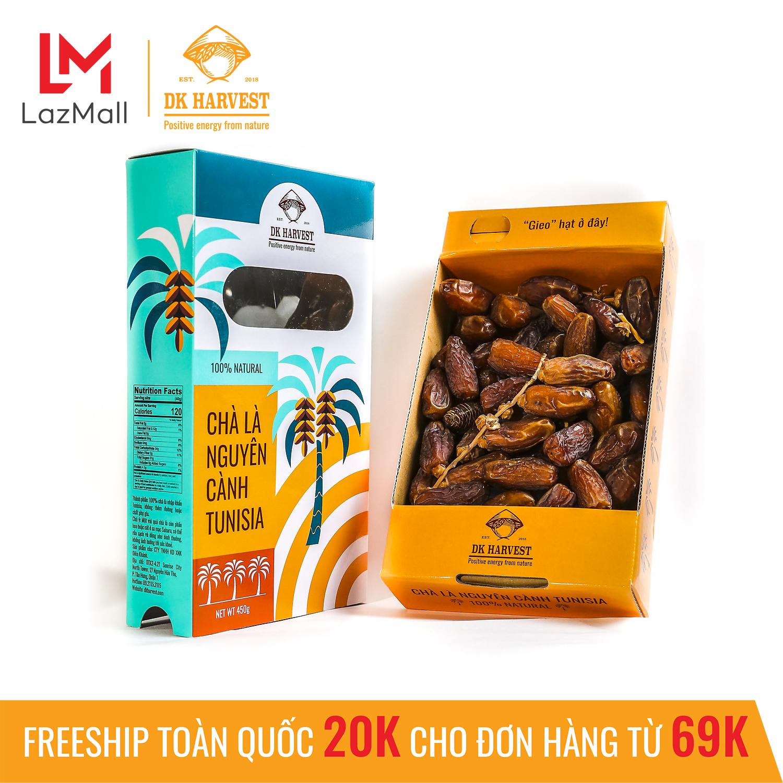 Chà là nguyên cành DK HARVEST nhập khẩu Tunisia - Hộp 450g - chà là chín cây tự nhiên thích hợp làm quà tặng, trái cây sấy cao cấp, ăn vặt, giảm cân