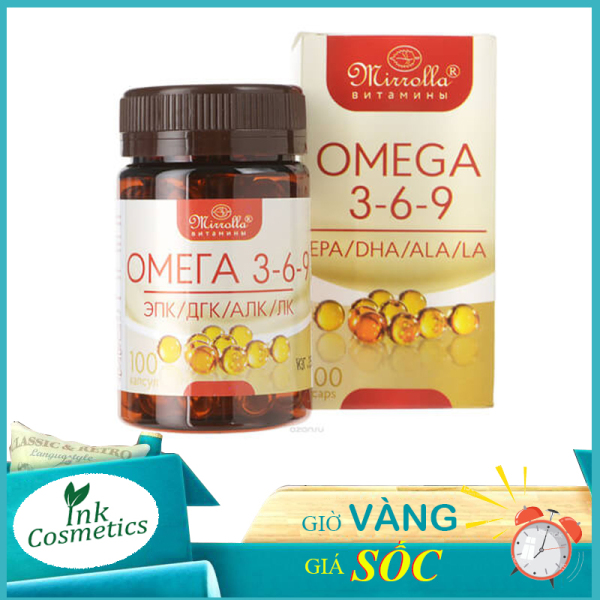 Viên Uống Omega 369 Mirrolla Nga, Viên uống sáng mắt, đẹp da, chống lão hóa da.