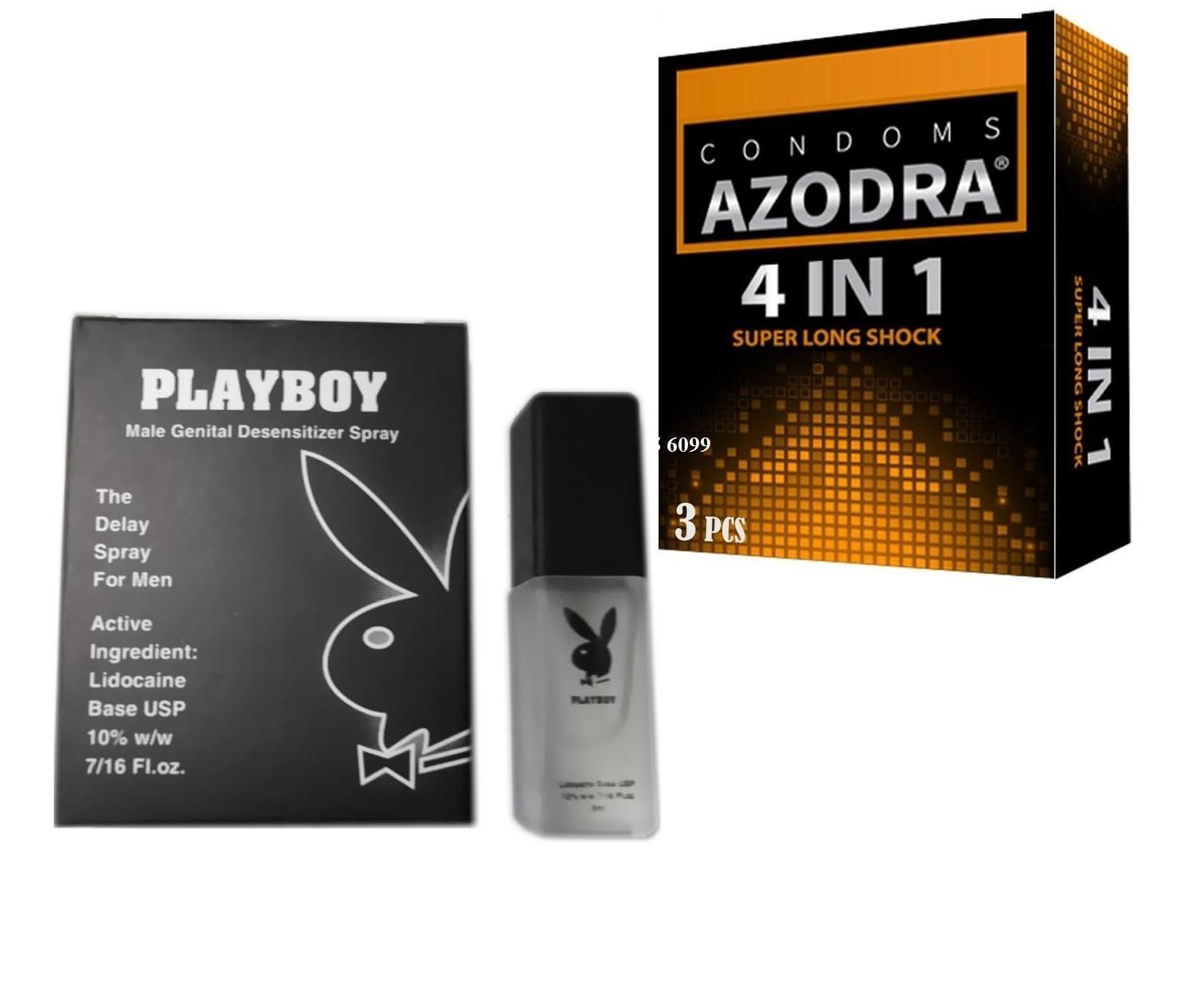 Bộ 1 Chai xịt kéo dài thời gian Playboy tặng 1 BCS AZODRA hộp 3 cái