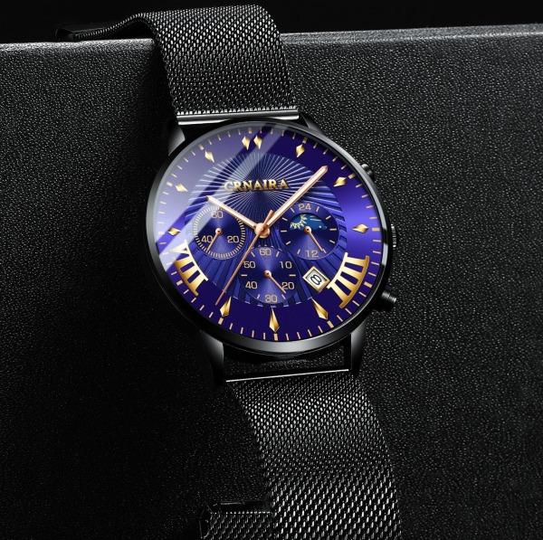 Đồng hồ Nam CRNAIRA CR82099 DOanh Nhân 2020 -đồng hồ đeo tay không thấm nước kim dạ quang phát sáng ban đêm  dây thép mành cao cấp bán chạy