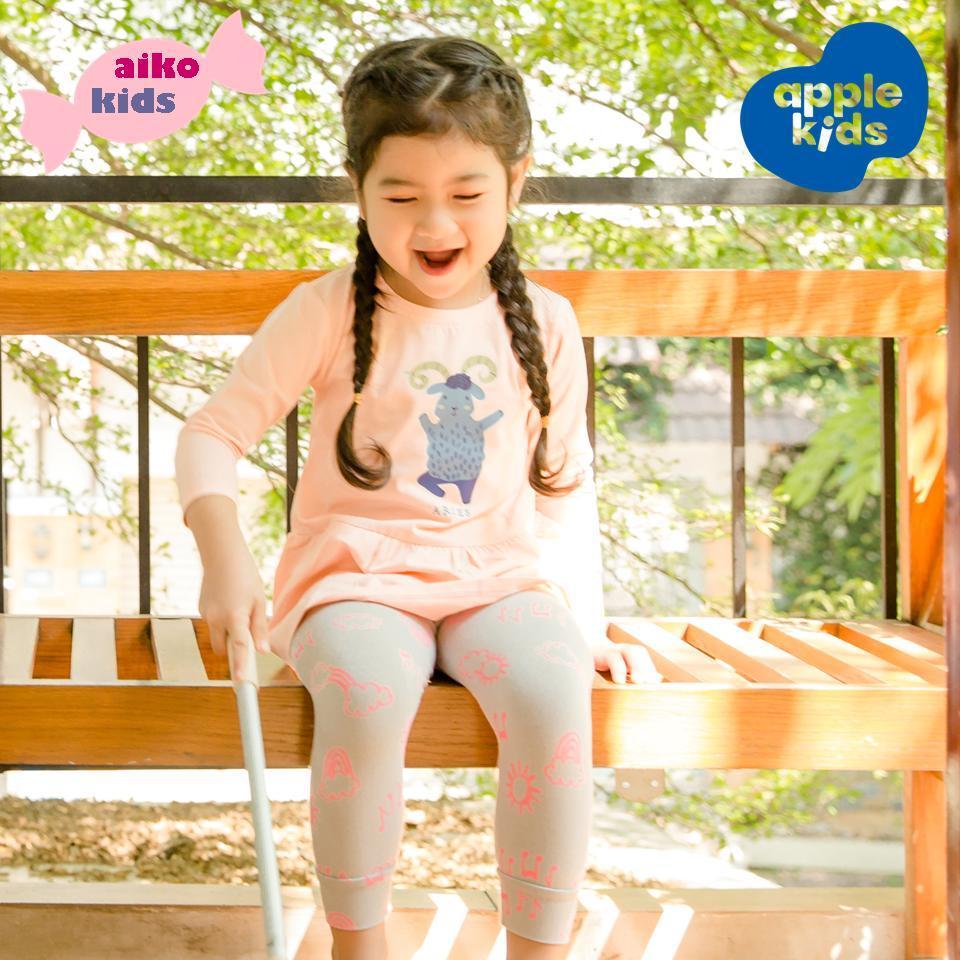 Giá bán Bộ đồ thun dài mặc nhà cho bé gái, 100% thun cotton 4 chiều, hồng xám in theo cung hoàng đạo của riêng bé , 2-8 tuổi