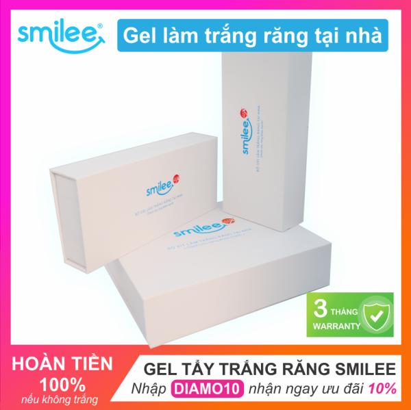 Bộ Gel làm trắng răng tại nhà Smilee | Tẩy trắng răng tại nhà an toàn | Chứng nhận ISO:22716 | Nhập khẩu USA | Chỉ với 20 phút - giúp răng trắng sáng đều màu lên đến 6 tone chỉ sau 7 ngày, loại bỏ mảng bám, vết ố vàng, sử dụng đơn gi