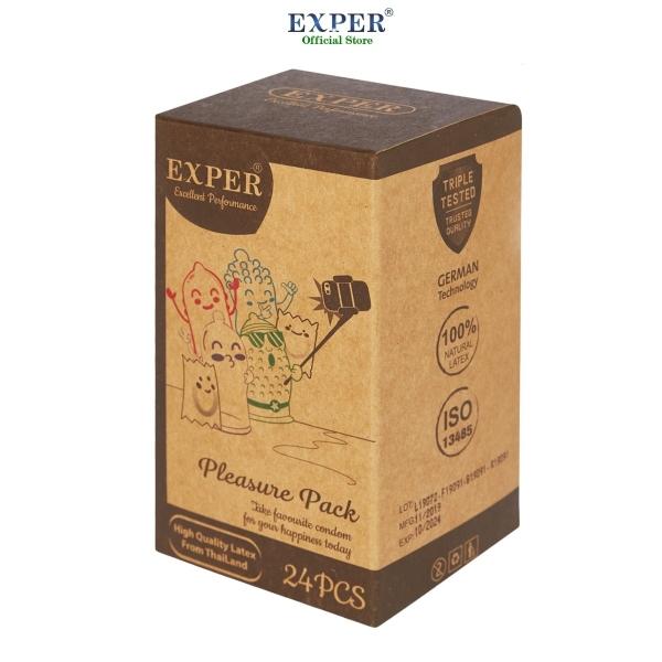 Bao cao su EXPER - Pleasure Pack chính hãng cao cấp hộp 24 cái. Phiên bản đặc biệt hộp 24 cái trộn lẫn 4 loại bao cao su, mang lại cho bạn nhiều cảm xúc thú vị nhất