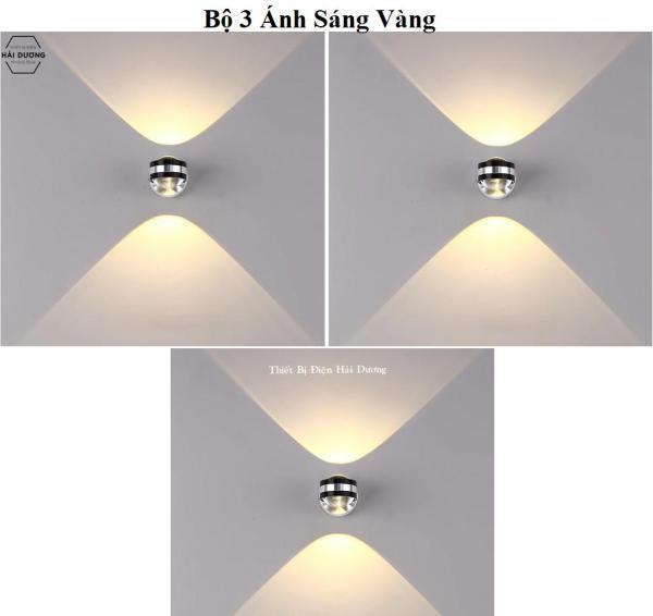 Bộ 3 Đèn Gắn Tường Pha Lê Thủy Tinh 2 Đầu 6w Chống Nước - Ánh Sáng Trắng - Vàng - Siêu Sáng - Siêu Tiết Kiệm Điện T09