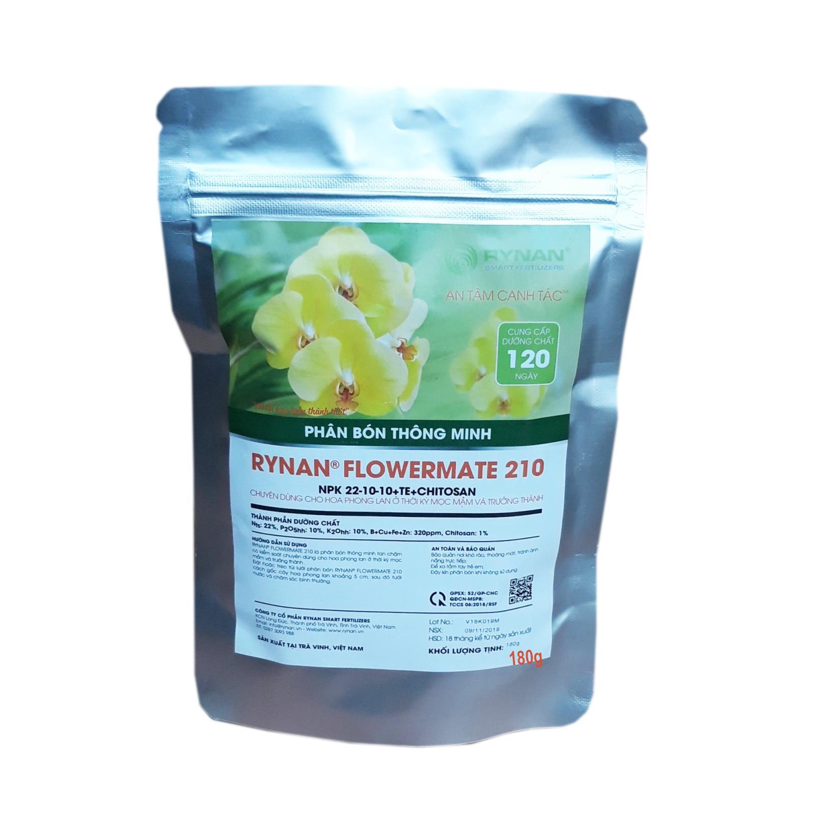 Phân Bón Thông Minh Túi lọc Rynan Flowermate 210  Dưỡng Phong Lan Sau Ra Hoa, Mọc Chồi, Nuôi Chồi Mới (Túi 180g)