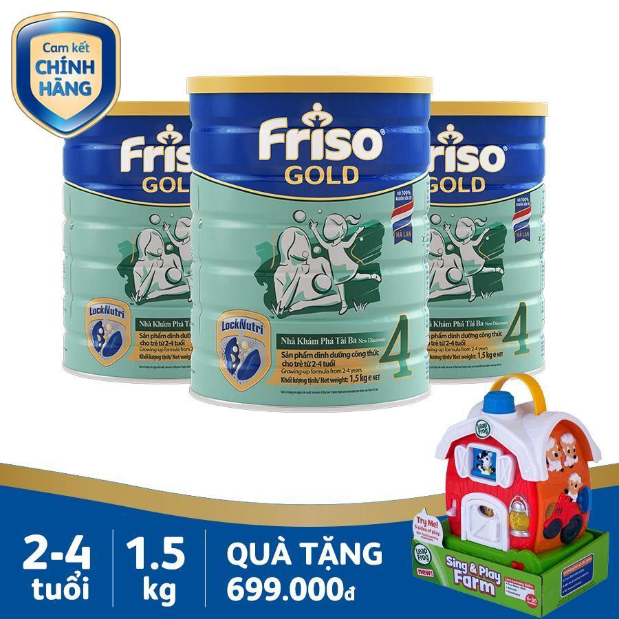 Bộ 3 lon sữa bột Friso Gold 4 1.5kg +...