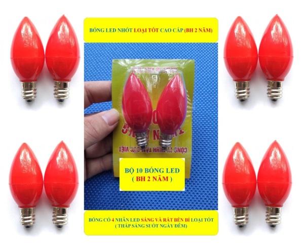 10 Bóng đèn Led trái ớt quả nhót cà na (BH 2 NĂM) BÓNG SÁNG VÀ RẤT BỀN BỈ nến trang trí bàn thờ thần tài màu đỏ đuôi đèn E12 thông dụng
